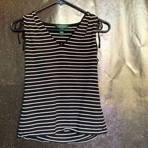 Lauren Ralph Lauren- Black w/White striped Tank PS
